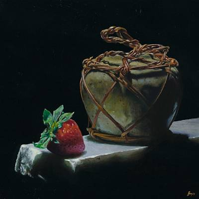 Ginger Jar And Strawberry Art Print by Jeffrey Hayes