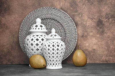 Wicker Photograph - Ginger Jar With Pears II by Tom Mc Nemar