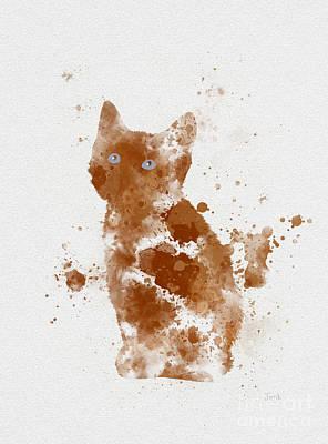 Kittens Mixed Media - Ginger Kitten by Rebecca Jenkins