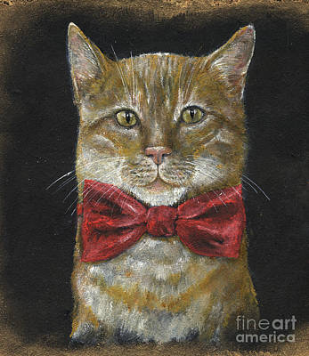 Painting - Ginger Kitty In Red Bowtie by Angel Ciesniarska