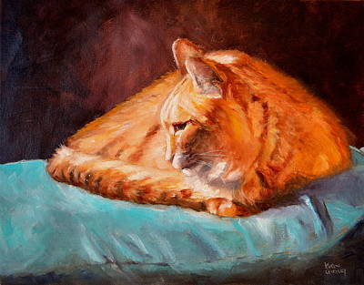 Painting - ginger Kitty Resting by Karen Langley