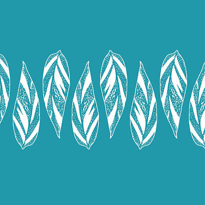 Digital Art - Ginger Leaf Lineup - Teal by Karen Dyson