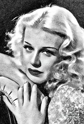 Musicians Drawings Rights Managed Images - Ginger Rogers, Vintage Actress and Dancer by JS Royalty-Free Image by John Springfield