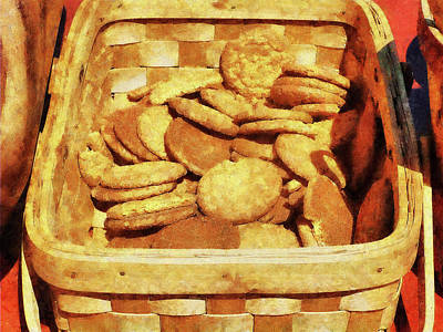 Confection Photograph - Ginger Snap Cookies In Basket by Susan Savad