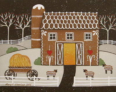 Folk Art Painting - Gingerbread Barn by Mary Charles