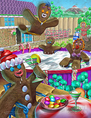 Gingerbread Candy Party Art Print
