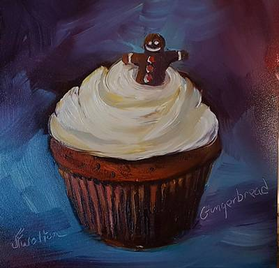 Painting - Gingerbread Cupcake by Judy Fischer Walton