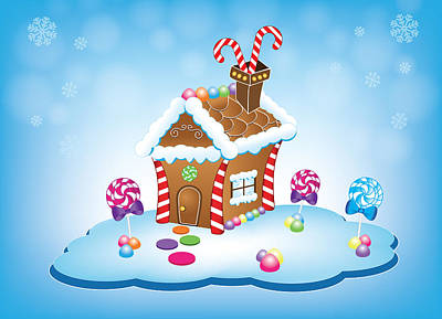 Digital Art - Gingerbread House Christmas Card by Serena King