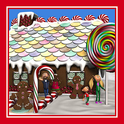 Digital Art - Gingerbread House Christmas Scene by Judi Suni Hall