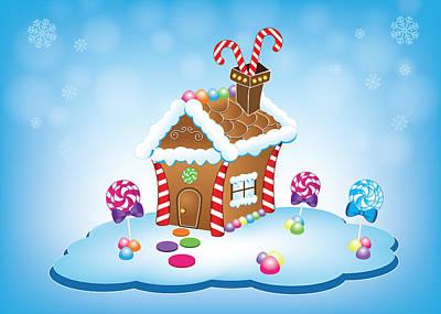 Digital Art - Gingerbread House Christmas by Serena King