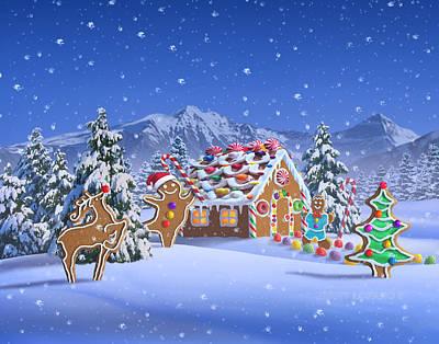 Reindeer Digital Art - Gingerbread House by Jerry LoFaro