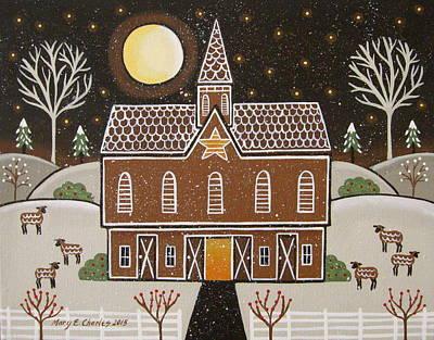 Gingerbread Star Barn Art Print