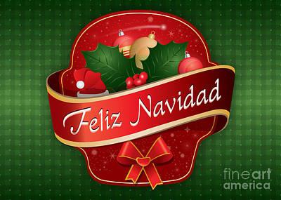 Digital Art - Gingham Feliz Navidad by JH Designs