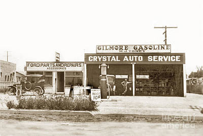 Photograph - Giomore Gasoline- M. J. Toney Circa 1927 by California Views Archives Mr Pat Hathaway Archives
