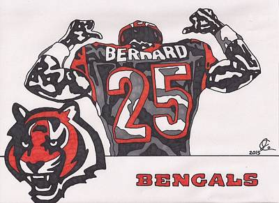 Drawing - Giovani Bernard  by Jeremiah Colley