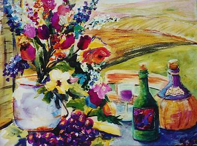 Painting - Giovanna's Chianti And Flowers by Therese Fowler-Bailey