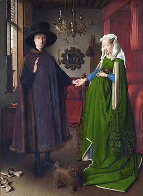 Giovanni Arnolfini And His Bride The Arnolfini Marriage Art Print by Jan Van Eyck