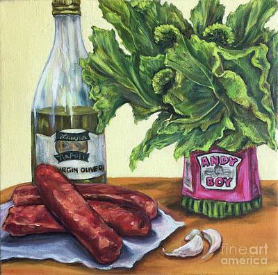 Broccoli Painting - Giovanni's Dinner  by Laura Napoli