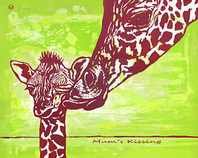Abstract Horses Mixed Media - Mum's Kissing - Giraffe Stylised Pop Art Poster by Kim Wang