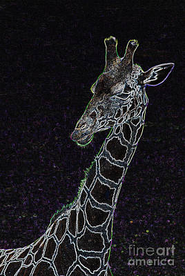 Digital Art - Neon Animals - Giraffe 2 by Wendy Wilton