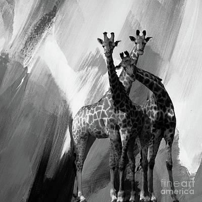 Giraffe Painting - Giraffe Abstract Art Black And White by Gull G