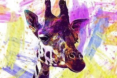 Digital Art - Giraffe Africa Safari Animal  by PixBreak Art