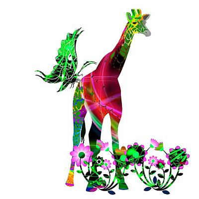 Digital Art - Giraffe And Flowers3 by Ericamaxine Price