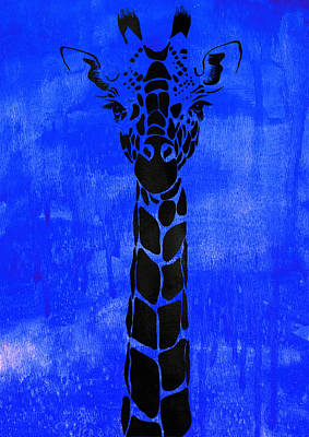 Wildlife Painting - Giraffe Animal Decorative Blue Poster 1 - By Diana Van by Diana Van