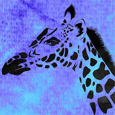 Giraffe Animal Decorative Blue Wall Poster  2 - By Diana Van Art Print