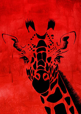 Giraffe Animal Decorative Red Wall Poster 18 - By Diana Van Art Print by Diana Van