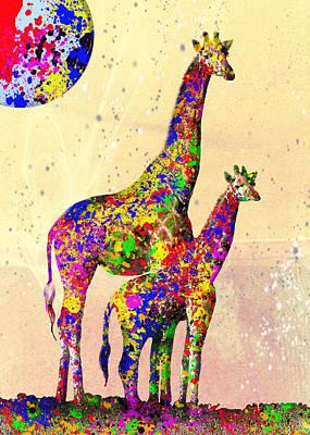Digital Art - Giraffe Art by Ron Grafe