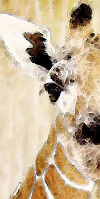 Wild Animals Painting - Giraffe Art - Side View by Sharon Cummings