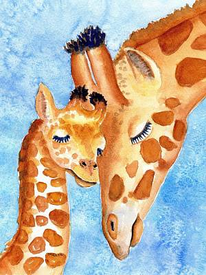 Mother And Baby Giraffe Painting - Giraffe Baby And Mother by Carlin Blahnik