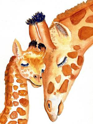 Painting - Giraffe Baby And Mother Zen by Carlin Blahnik CarlinArtWatercolor