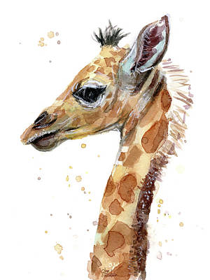 Giraffes Painting - Giraffe Baby Watercolor by Olga Shvartsur