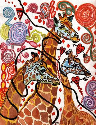 Painting - Giraffe Birthday Party by Connie Valasco
