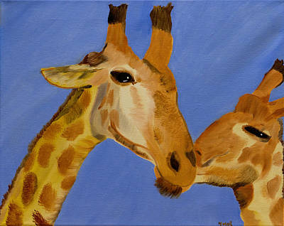 Giraffe Bonding Art Print
