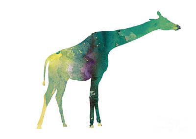 Giraffe Colorful Watercolor Painting Print by Joanna Szmerdt