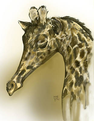 Giraffe Contemplation Art Print by Shirley Heyn