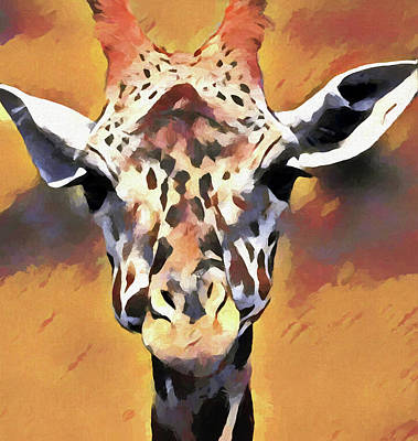 Painting - Giraffe Face by Dan Sproul