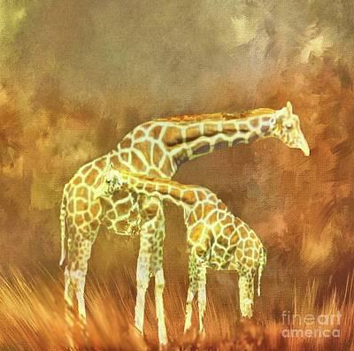 Digital Art - Giraffe Family by Janette Boyd