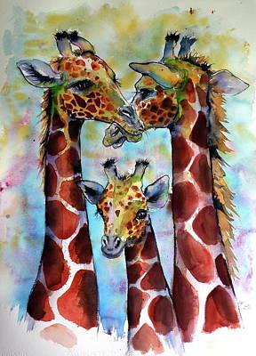 Painting - Giraffe Family by Kovacs Anna Brigitta