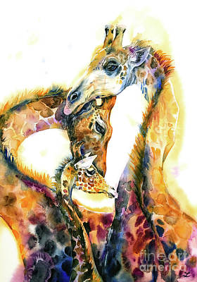 Painting - Giraffe Family by Zaira Dzhaubaeva