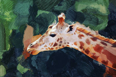 Digital Art - Giraffe by Gillian Dernie