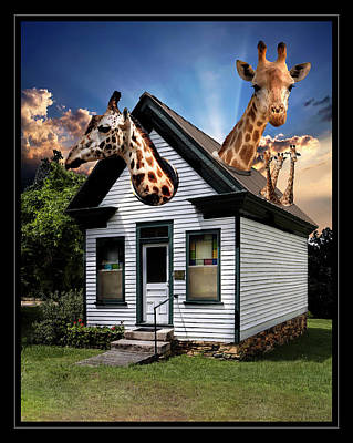 Digital Art - Giraffe House by Carlos Diaz