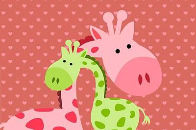 Giraffe  Hugs Art Print by Chastity Hoff