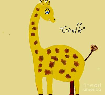 Drawing - Giraffe Illustration  by Susan Garren
