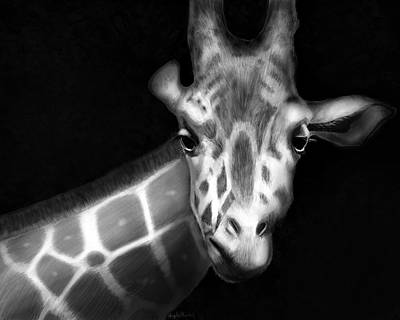 Digital Art - Giraffe In Black And White by Angela Murdock