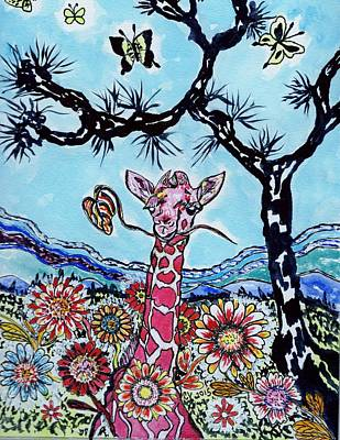Painting - Giraffe In Garden by Connie Valasco