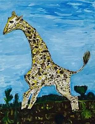 Handmade Giraffe Painting - Giraffe In Stride by Jonathon Hansen